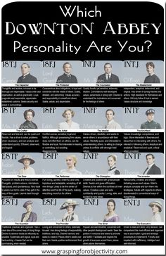 Downton Abbey MBTI Personality Types  - This is fun - find it at: http://www.graspingforobjectivity.com/2013/11/downton-abbey-mbti-chart.html I turned out to be Anna - Yay, my favorite!