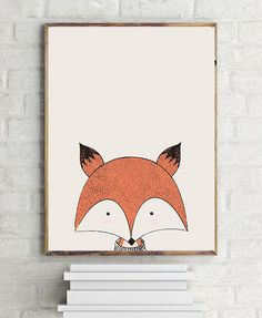 Fox Nursery Poster Fox Digital Print Fox Kids by AYAKAstudio