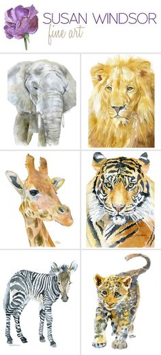 Safari animal watercolor prints. Perfect for the nursery.