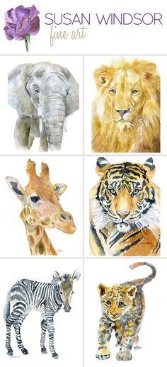Safari animal watercolor prints. Perfect for the nursery.
