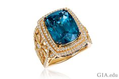 Regal rings like this show why blue zircon is a popular gem