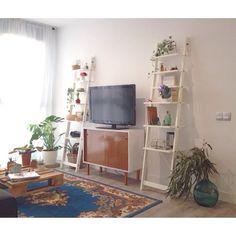 Mueble televisor restaurado, decoración rescatada en mercadillos, plantas, mucha luz...