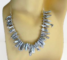 Silver biwa pearls necklace sterling silver by HanoverMerryMakers
