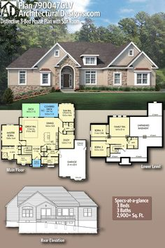 When I was a kid I used draw house plans like this  Why didn t I     Architectural Designs House Plan 790047GLV gives you 3 beds  3 baths  and  over 2 9700 sq  ft  of single level heated living space  Ready when you are