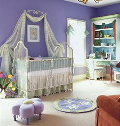 love the curtain on the wall framing the bed.....another great idea for a little girl's room.