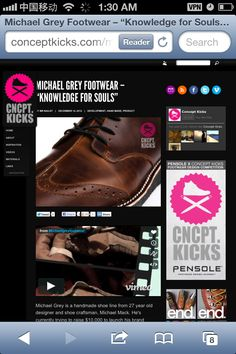 Thanks to my good friend Quintin Williams MICHAEL GREY FOOTWEAR now has a feature on Concept kicks !   http://conceptkicks.com/michael-grey-footwear/