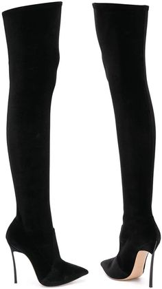 f9470980800 Black velvet and leather pointed over the knee boots from Casadei featuring  a pointed toe