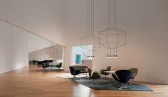 空間に線で描かれたワイヤーフレーム照明 / 海外オフィスデザインのまとめ / オフィスデザイン・レイアウト WORK KIT