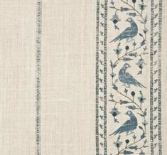 'Baroda I' fabric in Indigo on Natural --- hand printed on 100% natural linen --- ivory fabric with blue stripes of birds and vines --- Lisa Fine Textiles
