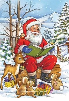Santa Claus reading a Christmas story to his forest animal friends Funny Christmas Cards, Christmas Scenes, Christmas Animals, Christmas Books, Retro Christmas, Christmas Pictures, Christmas Snowman, Christmas Greetings, Christmas Time