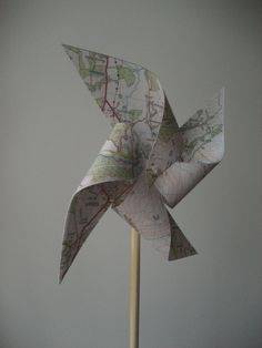 Old map pinwheels windmills-Wedding decor-travel theme-party favor-large-set of 8