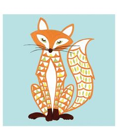 170a20c2b530e Felix Fox Card designed by Helen Gordon in her retro style. Part of the woodland  animal collection