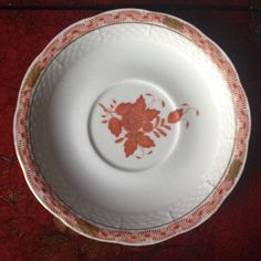 """Herend Cream Soup Saucer Chinese Bouquet Rust Basketweave 7 1/4"""" Diameter…"""