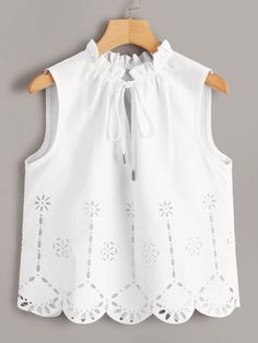 To find out about the Laser Cut Tie Neck Sleeveless Top at SHEIN, part of our latest Blouses ready to shop online today! Pop Fashion, Fashion News, Womens Fashion, Fashion Design, Girl Fashion, Fashion Advice, Blouse Designs, Blouses For Women, Outfits