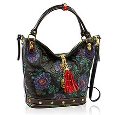 0aca711a4c Marino Orlandi Italian Designer Black Handpainted Roses Leather Large Purse  Bag