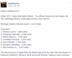 (CEBU CITY - Public Information Office) - The Official Winners for the October 2013 Barangay Election in Barangay Babag, Cebu City. Election Updates, Public Information, Cebu City, October, Blog, Blogging, Cebu