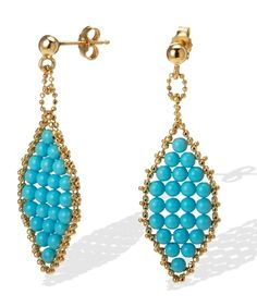 Long Beaded Turquoise Earrings in 14k Gold(get all your gift earrings at:https://buyjewelryearrings.blogspot.com)