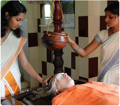 Kerala Ayurveda treatment. Medicated Oil being applied.