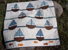 Sailboat Baby Quilt for Boys by stitchintimequilts on Etsy