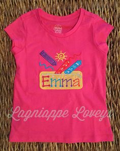 Back to school embroidered personalized crayon girls t-shirt by Lagniappe Loveys http://www.lagniappeloveys.com