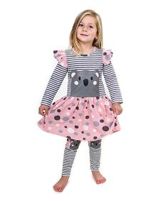 Another great find on #zulily! Pink & Gray Koala Friends Dress & Leggings - Toddler & Girls by Jelly the Pug #zulilyfinds