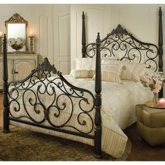 Parkwood Iron Bed in Black Gold - guest bedroom with red jacquard bedding