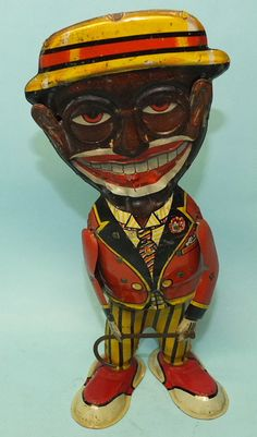 1929 MARX MAMMY'S BOY FUNNY FACE TIN WIND UP WALKER TOY & BOX | Toys of Times Past