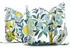 OUTDOOR Citrus Garden Decorative Pillow Cover in Pool or Lumbar Pillow, Schumacher Josef Frank pillow cover White Decorative Pillows, Colorful Pillows, Decorative Pillow Covers, Citrus Garden, Yellow Home Decor, Feather Pillows, Pillow Cover Design, Pillow Forms, Designer Pillow