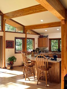 Ideas sunroom kitchen ideas on pinterest kitchens cedar for Log home sunrooms