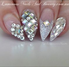 Swarovski Bling  Bridal Nails... Sculptured Acrylic with @youngnailsinc Sea Spray Glitter, Crystal Glitter, Cover Pink, Swarovski Crystals Square 3mm, @glitterblendz Diamond Reflections #youngnails #glitterblendz #swarovskicrystals #bridalnails #weddingnails #whiteglitter #shimmer #sparkle #icing #frosting #whitewedding #acrylicnails #luminous #byteena #luminousnails #luminousnailsandbeauty #goldcoast #queensland #australia #specialday #specialoccasions #nailartist #nailartebook #glossy
