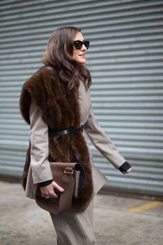 Latest Fashion Week Street Style. Elenora Carisi in belted fur at New York Fashion Week Fall 2015 #nyfw