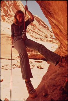 """Descending Into the Maze from near Chimney Rock, Using Mountaineers' """"Rappeling"""" Technique. In This Remote Region of the Canyonlands There Are No Trails and No Means of Access Except by Rope And, Sometimes, by Steps Cut in the Rock, 05/1972"""