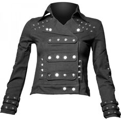 Girls uniform jacket, futuristic goth look with metal buttons, by Queen of Darkness.