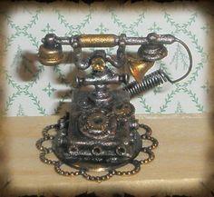 steampunk telephones | Steampunk Telephone Miniature by *grimdeva on deviantART