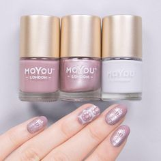 Bridal 06/07 // Pro 16/XL 25⠀ Polishes - Frosted Lips // Pink Clay // After the Storm⠀