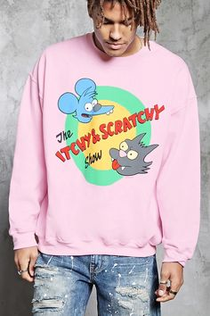 """A fleece knit sweatshirt featuring a front """"The Itchy & Scratchy Show"""" cartoon logo graphic from The Simpsons, a crew neck, long sleeves with dropped shoulders, and ribbed knit trim."""
