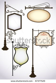 Wrought iron vintage signs set - stock vector