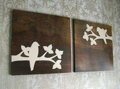 "Plank board ideas:  Rustic Bird Wood Wall Decor Art Set 12""x12"". $70.00, via Etsy."