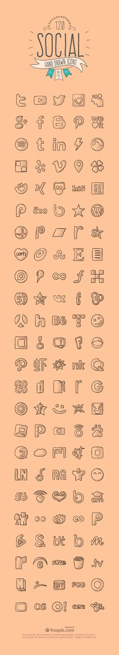 A set of 120 Hand Drawn Social Media Icons. This set  includes 120 well designed social icons in SVG and PNG format. Download Here - posted under Icons tagged with: Behance, Facebook, Free, Google Plus, Graphic Design, Hand-Drawn, Icon, Instagram, Linkedin, Pinterest, PNG, Resource, Social Media, SVG, Twitter, Vector, WordPress, YouTube by Fribly Editorial