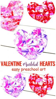 Shaving Cream Art Kids Love - Valentine Marbled Hearts for Preschoolers - Natural Beach Living The Best Valentines Crafts for preschoolers, Shaving Cream Art, Marbled Paper Hearts, Easy art for Homemade Valentines Day Cards, Valentines Art For Kids, Preschool Valentine Crafts, Preschool Art Projects, Kinder Valentines, Valentine's Day Crafts For Kids, Valentines Day Activities, Valentines Crafts For Preschoolers, Shaving Cream Art