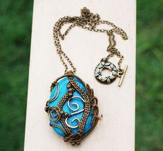 Abstract Art Wire Wrap Big Turquoise Stone Beautiful Artisan Pendant Necklace #Jeanninehandmade #Pendant
