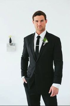 Groom Style: two piece black suit