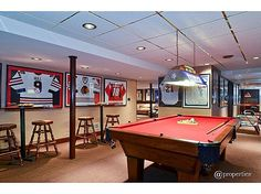 My husband would love this as a man cave. He loves to play pool and I could see the wall plastered with various baseball collections. Man Cave Room, Car Man Cave, Man Cave Basement, Man Cave Diy, Man Cave Home Bar, Man Cave Garage, Classy Man Cave, Sports Man Cave, Ultimate Man Cave