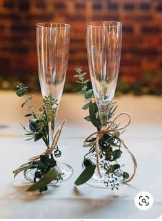 Champagne glasses decorated with twine + greenery for the newlyweds {Cameron Reynolds Photography} # diy wedding glasses Classic Georgia Warehouse Wedding Dream Wedding, Wedding Day, Wedding Rustic, Trendy Wedding, Wedding Reception, Wedding Venues, Spring Wedding, Wedding House, Perfect Wedding