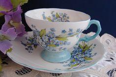 Rosina English Bone China Blue Floral Teacup and Saucer Vintage