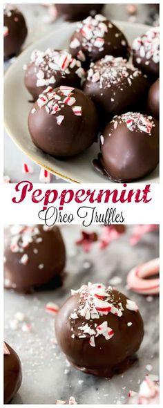 Peppermint Oreo Truffles — just 4 ingredients! Peppermint Oreo Truffles — just 4 ingredients! via Sugar Spun Run Köstliche Desserts, Holiday Baking, Christmas Desserts, Christmas Baking, Delicious Desserts, Health Desserts, Christmas Treats, No Bake Truffles, Oreo Truffles Recipe