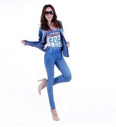 china/ High waist woman double-breasted elastic jean auto lycra jersey t shirt