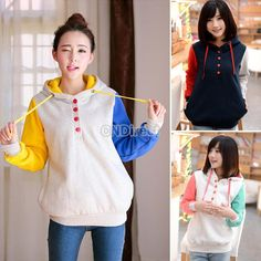 New Women's Candy Color Sweatshirt Pullover With A Hood Loose Pocket Fleece Outerwear