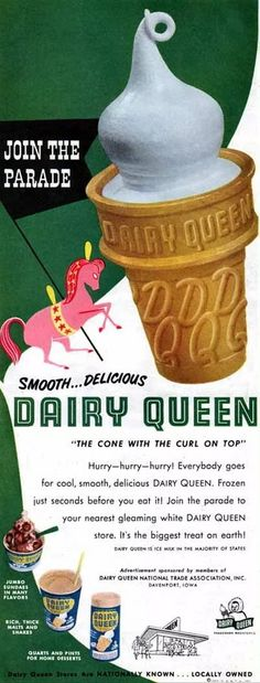Ideas For Dairy Queen Sign Soft Serve Old Advertisements, Retro Advertising, Retro Ads, Vintage Ads, Vintage Posters, Retro Food, Vintage Food, Vintage Classics, Vintage Stuff