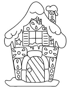 Gingerbread House Stencil or coloring page